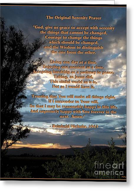 Sunset Greeting Cards Greeting Cards - The Original Serenity Prayer Greeting Card by Glenn McCarthy Art and Photography