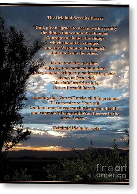 Alpha And Omega Greeting Cards - The Original Serenity Prayer Greeting Card by Glenn McCarthy Art and Photography