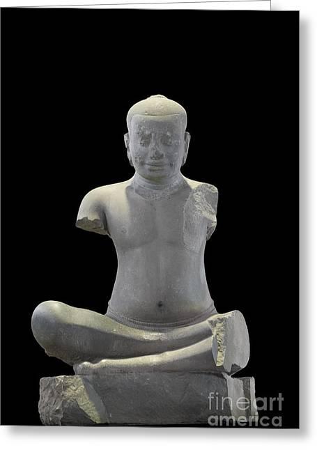Phimai Greeting Cards - The original statue of King Jayavarman VII Greeting Card by Roberto Morgenthaler
