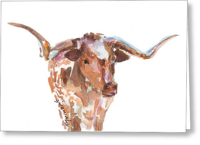 The Original Texas Longhorn Greeting Card by Kathleen McElwaine