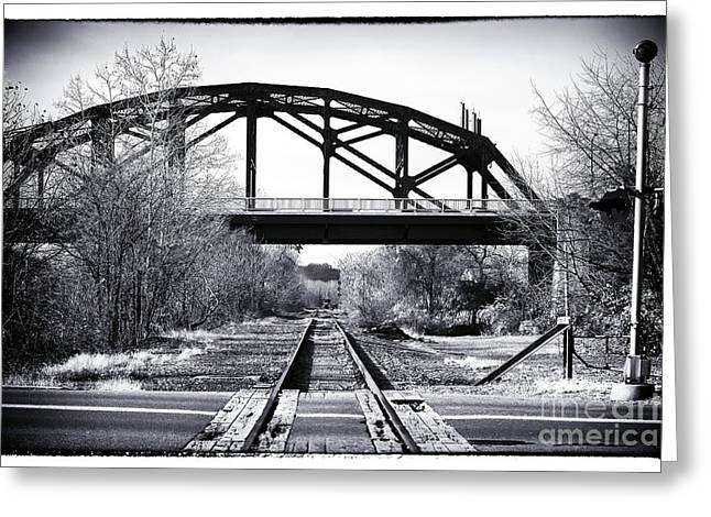 Black And White Train Track Prints Greeting Cards - The Other Side of the Tracks Greeting Card by John Rizzuto