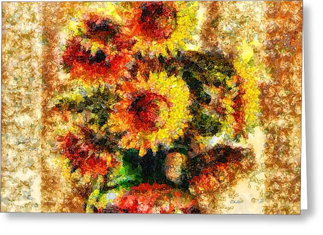Mo T Mixed Media Greeting Cards - The other Sunflowers Greeting Card by Mo T