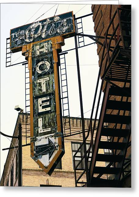 Skid Row Greeting Cards - The Otis Hotel Greeting Card by Daniel Hagerman
