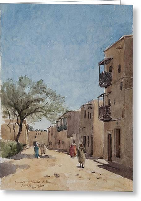 Algerian Greeting Cards - The Ouled Nail Quarter, Biskra, April 1889 Wc On Paper Greeting Card by Henri Duhem