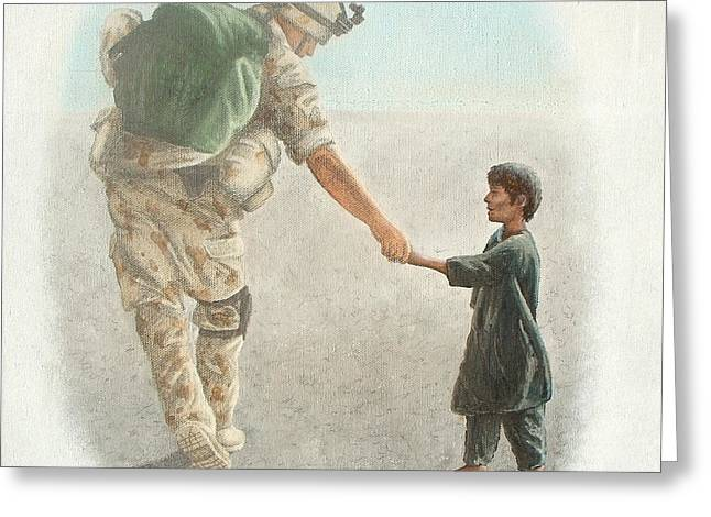 Iraq Paintings Greeting Cards - The Outcome of War is in Our Hands Greeting Card by Conor OBrien