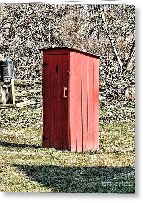 Falling Apart Greeting Cards - The Outhouse - 1 Greeting Card by Paul Ward