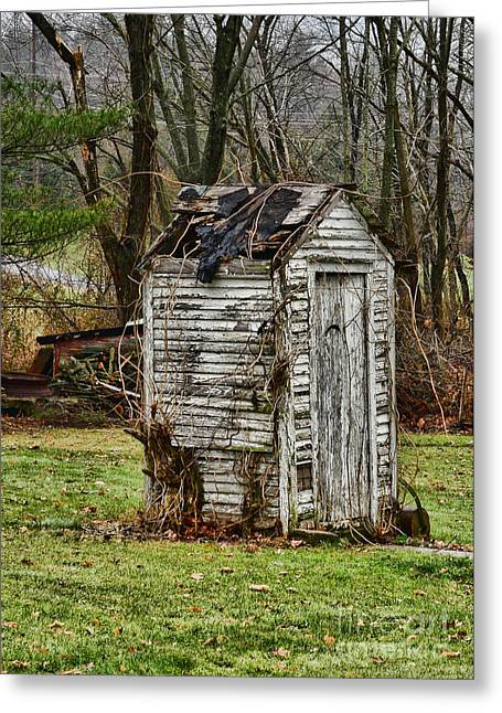 Falling Apart Greeting Cards - The Outhouse - 3 Greeting Card by Paul Ward