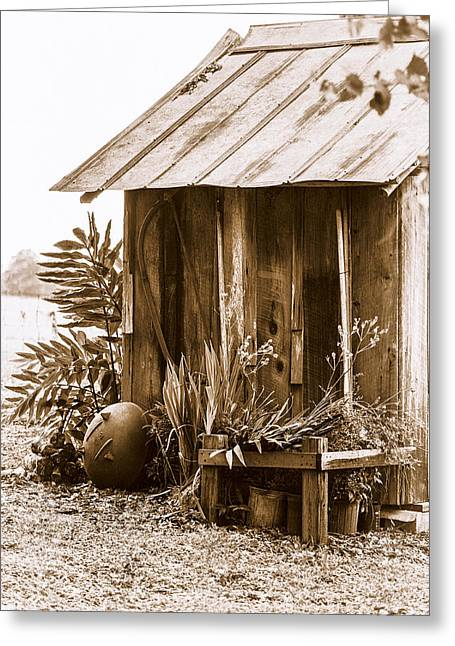 Antique Outhouse Greeting Cards - The Outhouse Greeting Card by Carolyn Marshall