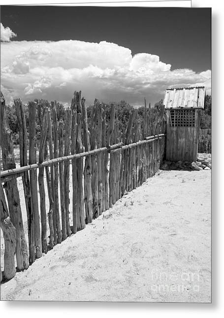 Old West Postcards Greeting Cards - The Outhouse Greeting Card by Roselynne Broussard