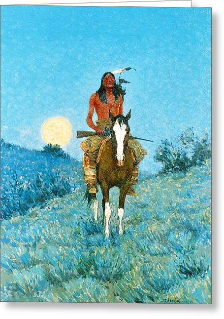 Remington Greeting Cards - The Outlier Greeting Card by Frederic Remington
