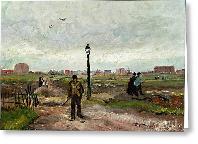 People Walking Greeting Cards - The Outskirts of Paris Greeting Card by Vincent van Gogh