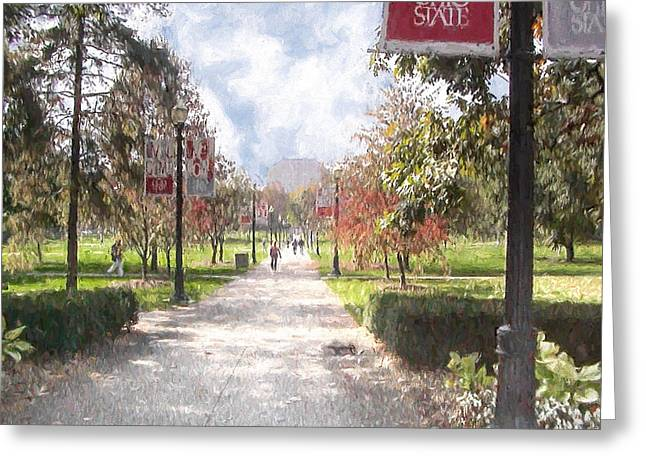 Ike Krieger Greeting Cards - The Oval at Ohio State Greeting Card by Ike Krieger
