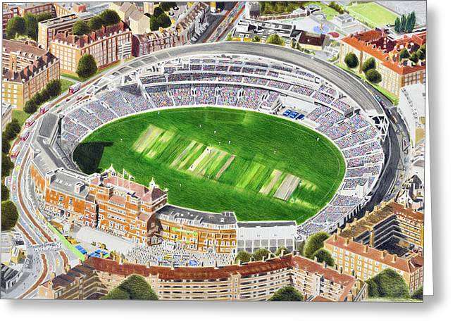 Cricket Paintings Greeting Cards - The Oval Cricket Stadia Art - Surrey Cricket Club and England Greeting Card by Brian Casey