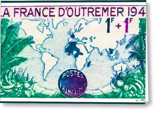 """""""france Poster"""" Greeting Cards - The Overseas France 1941 Stamp Greeting Card by Lanjee Chee"""