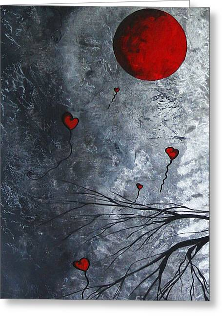 Interior Decorators Greeting Cards - The Overseers 1 of 2 Whimsical Crow Moon Heart Painting by Megan Duncanson Greeting Card by Megan Duncanson