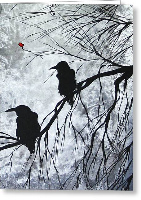 The Overseers 2 Of 2 Whimsical Crow Moon Heart Painting By Megan Duncanson Greeting Card by Megan Duncanson