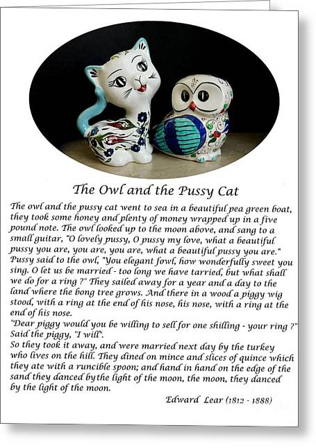 The Owl And The Pussycat Poem Greeting Cards - The Owl and the Pussy Cat Greeting Card by John Chatterley