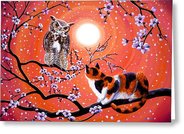 Calico Greeting Cards - The Owl and the Pussycat in Peach Blossoms Greeting Card by Laura Iverson