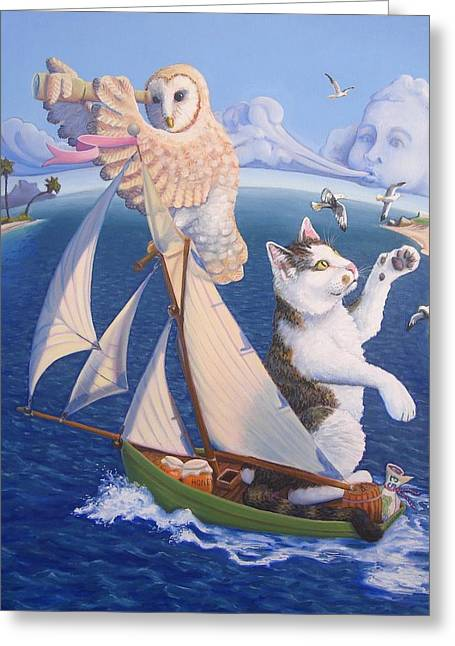 Nursery Rhyme Paintings Greeting Cards - The Owl and The Pussycat Greeting Card by James Derieg