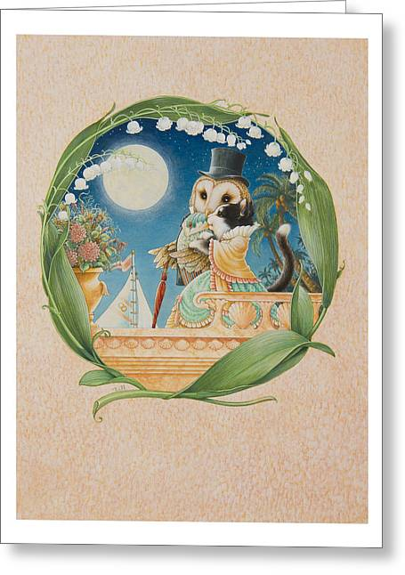 Valley Of The Moon Paintings Greeting Cards - The Owl and The Pussycat Greeting Card by Lynn Bywaters