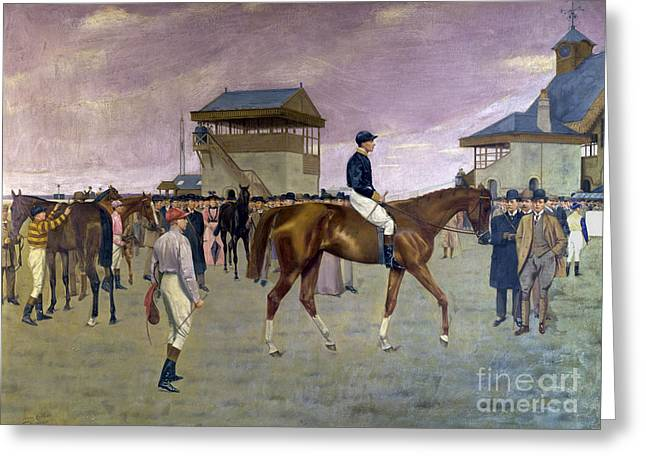Jockey Greeting Cards - The Owner s Enclosure Newmarket Greeting Card by Isaac Cullen