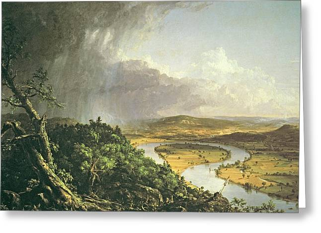 Meander Greeting Cards - The Oxbow The Connecticut River Near Northampton 1836 Oil On Canvas Greeting Card by Thomas Cole