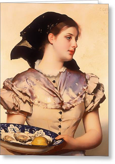 Waitress Paintings Greeting Cards - The Oyster Girl Greeting Card by Karl Gussow
