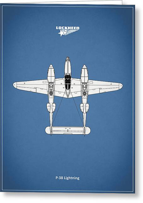 P-38 Greeting Cards - The P-38 Lightning Greeting Card by Mark Rogan