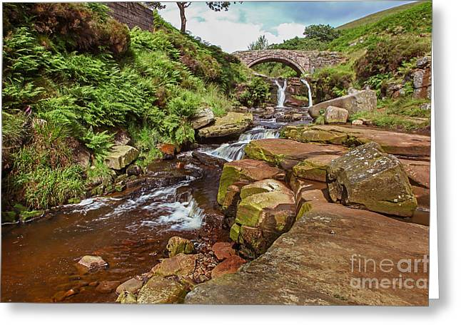 Packhorse Greeting Cards - The Packhorse Bridge at Three Shires Head Greeting Card by John Keates