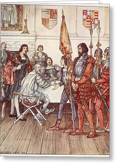 Knight Greeting Cards - The Page Presents His Prisoner Greeting Card by Herbert Cole