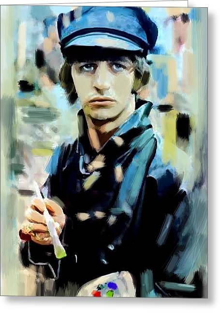 The Beatles Images Greeting Cards - The Painted Heart  Ringo Starr Greeting Card by Iconic Images Art Gallery David Pucciarelli