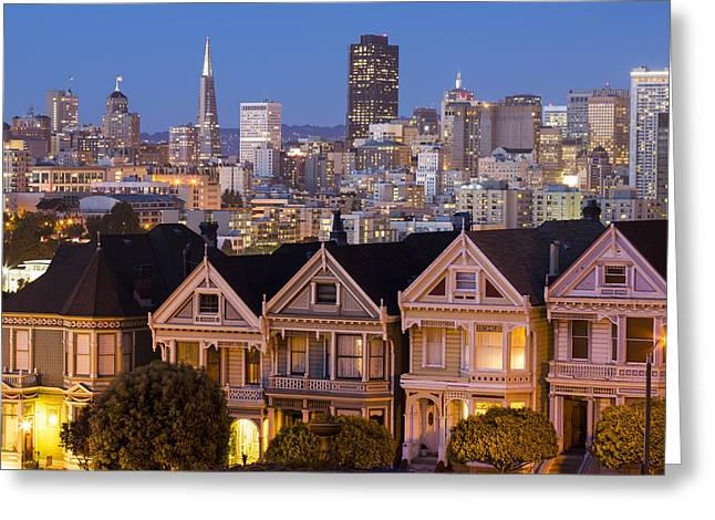 Blue Hour Greeting Cards - The Painted Ladies and San Francisco Skyline Greeting Card by Adam Romanowicz
