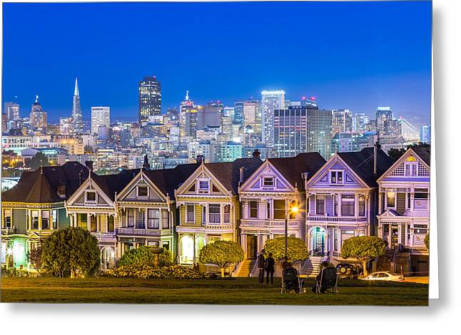 Dave Gordon Greeting Cards - The Painted Ladies Photograph at Dusk in San Francisco California Greeting Card by Dave Gordon