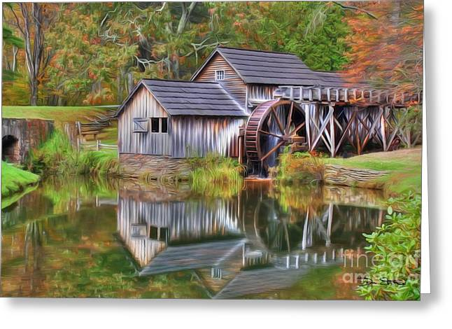 Old Mill Scenes Digital Greeting Cards - The Painted Mill Greeting Card by Dan Stone