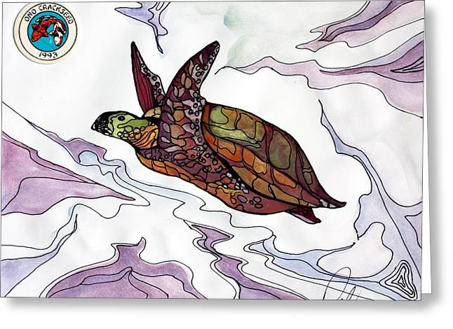 The Painted Turtle Greeting Card by Pat Purdy