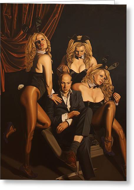 Playboy Bunny Greeting Cards - The Painter and his Graces Greeting Card by Sierk Van Meeuwen