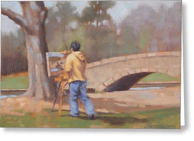 Freedom Park Paintings Greeting Cards - The Painter Greeting Card by Todd Baxter