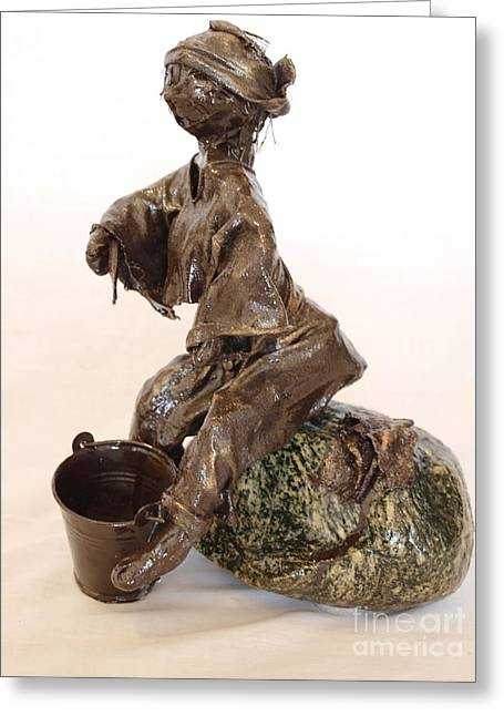Realism Sculpture Sculptures Sculptures Greeting Cards - The Painter Greeting Card by Vivian Martin
