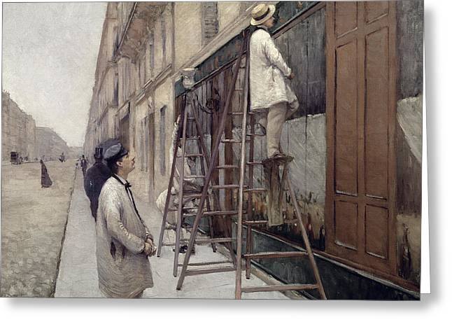 Les Greeting Cards - The Painters Greeting Card by Gustave Caillebotte