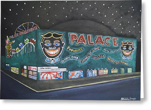 Asbury Park Paintings Greeting Cards - The Palace at Night Greeting Card by Patricia Arroyo