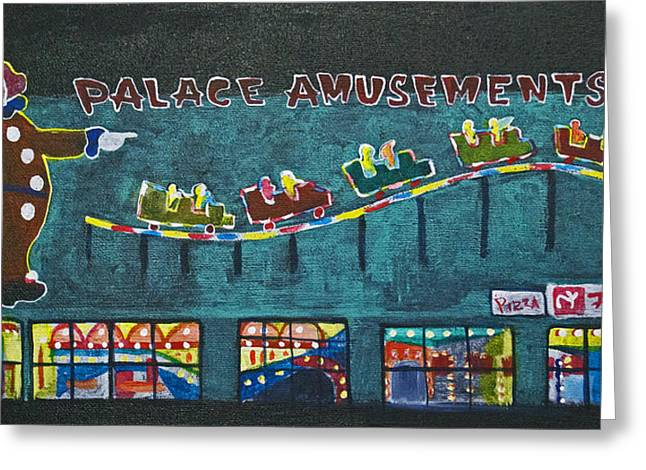 Asbury Park Paintings Greeting Cards - The Palace Clown at Night Greeting Card by Patricia Arroyo
