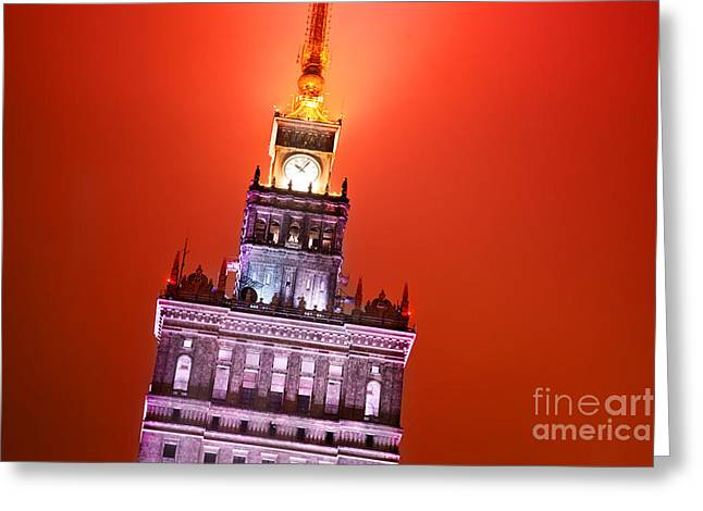 The Palace of Culture and Science Warsaw Poland  Greeting Card by Michal Bednarek