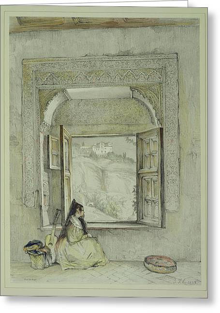 Pensive Drawings Greeting Cards - The Palace Of The Generalife Greeting Card by John Frederick Lewis
