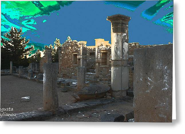 The Palaestra -temple Of Apollo Greeting Card by Augusta Stylianou