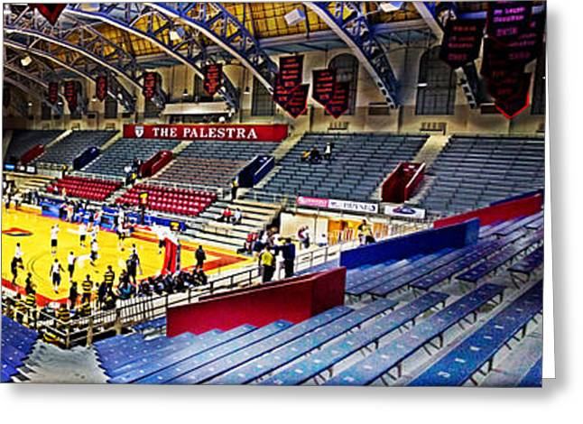 Basketballs Greeting Cards - The Palestra at Night Greeting Card by Tom Gari Gallery-Three-Photography