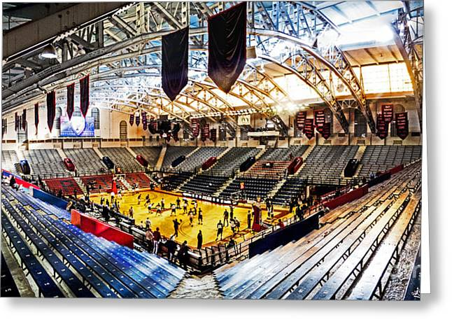 Basketballs Greeting Cards - The Palestra In The Afternoon Greeting Card by Tom Gari Gallery-Three-Photography