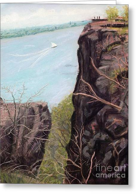River View Pastels Greeting Cards - The Palisades in Early Spring Greeting Card by Laura Sullivan