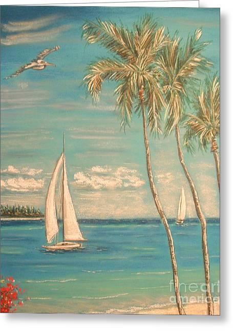 Seaside Pastels Greeting Cards - The Palms Greeting Card by The Beach  Dreamer
