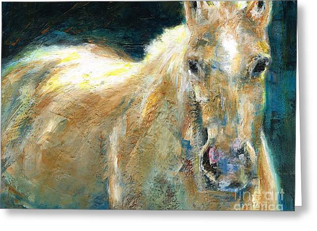Abstract Equine Greeting Cards - The Palomino Greeting Card by Frances Marino