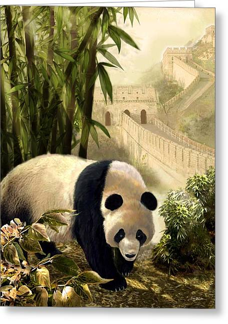 Chinese Architecture And Art Greeting Cards - The panda bear and the Great Wall of China Greeting Card by Gina Femrite